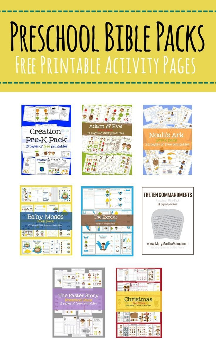 Free Preschool Bible Packs – Mary Martha Mama- Free Printable Bible - Bible Lessons For Toddlers Free Printable