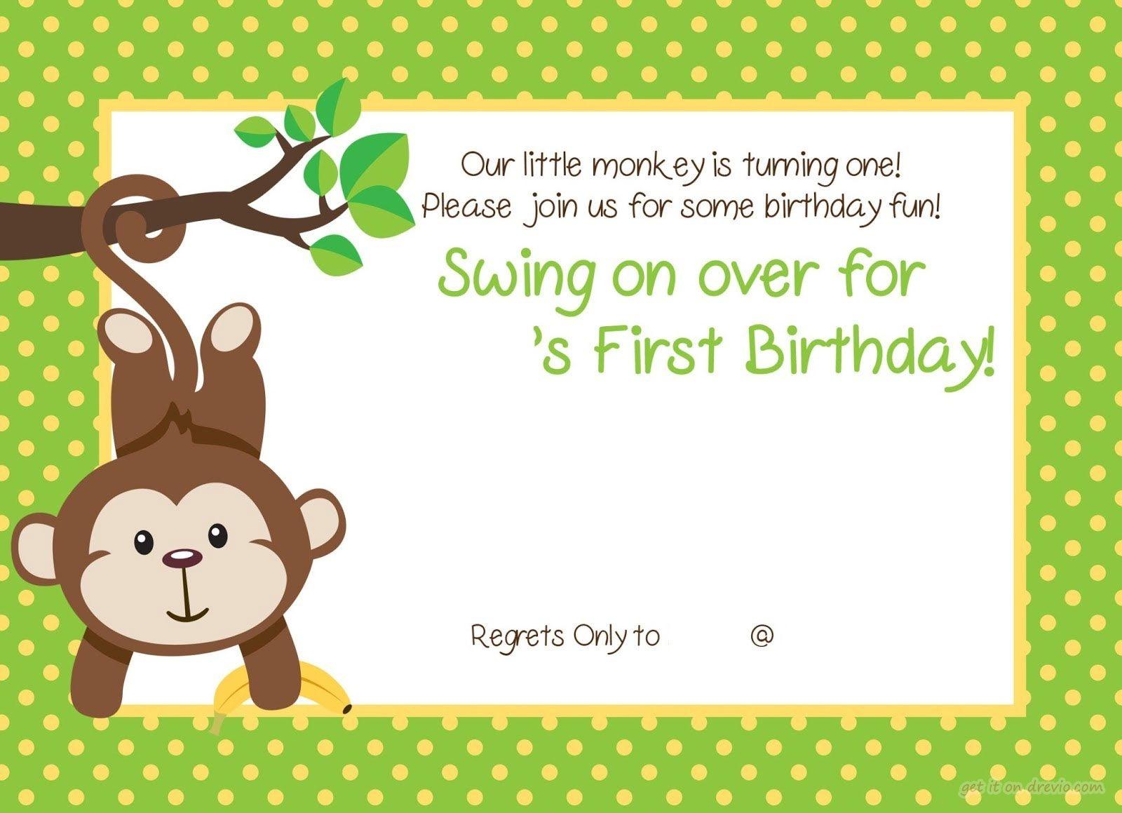 Free Printable 1St Monkey Birthday   Birthday Invitation For Kids - Jungle Theme Birthday Invitations Free Printable