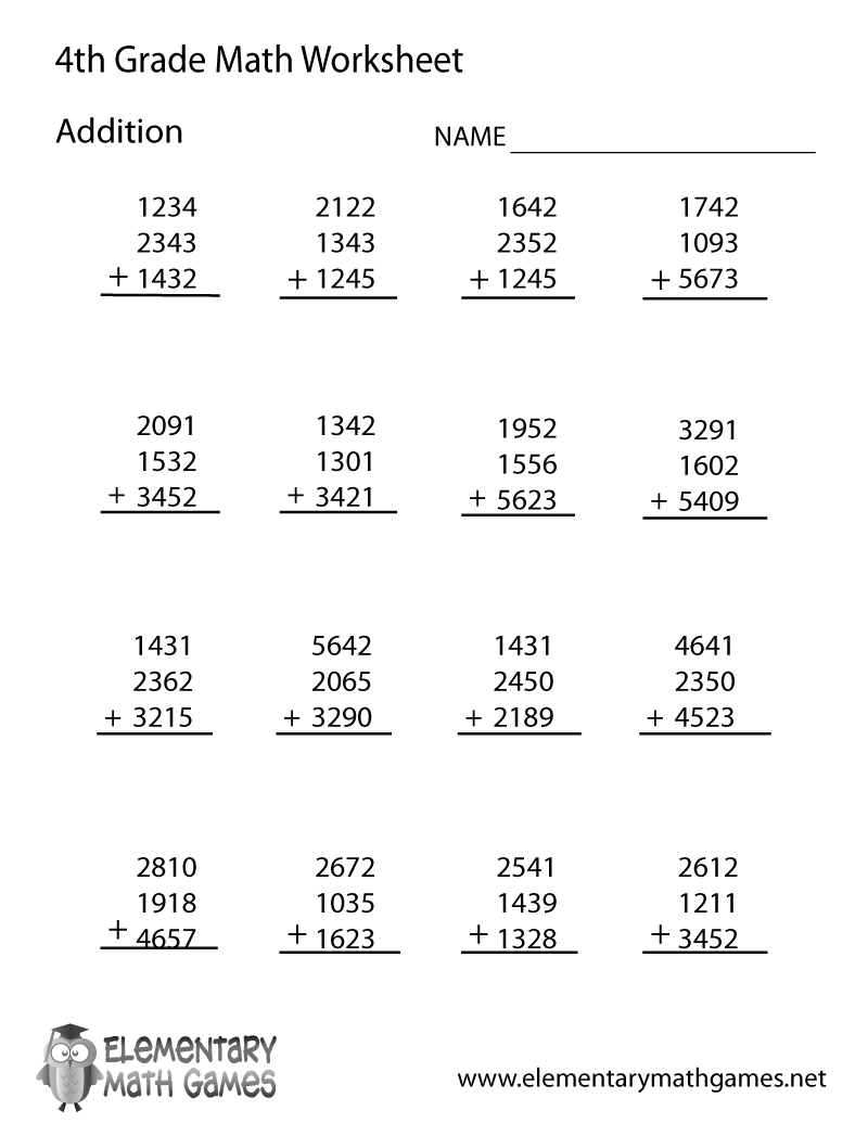 Free Printable Addition Worksheet For Fourth Grade - Free Printable Math Worksheets For 4Th Grade