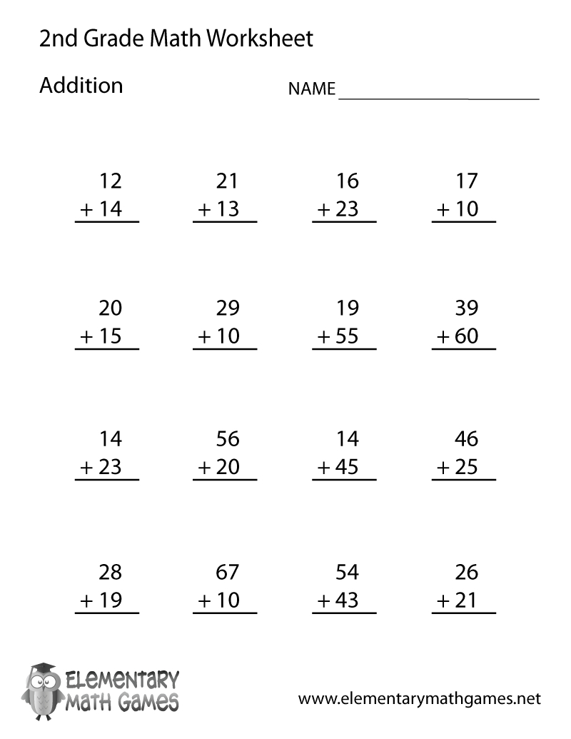 Free Printable Addition Worksheet For Second Grade - Free Printable Second Grade Worksheets