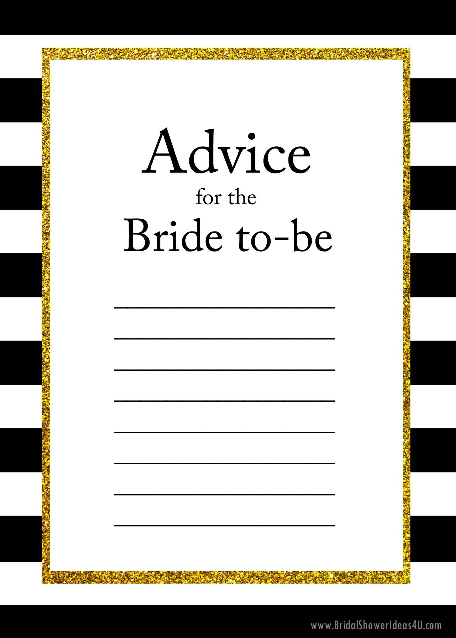 Free Printable Advice For The Bride To Be Cards | Bridal Shower - Free Bridal Shower Printable Decorations