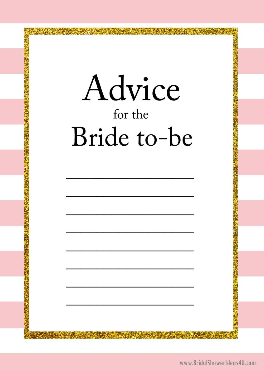 Free Printable Advice For The Bride To Be Cards | Friendship | Bride - Free Printable Bridal Shower Cards