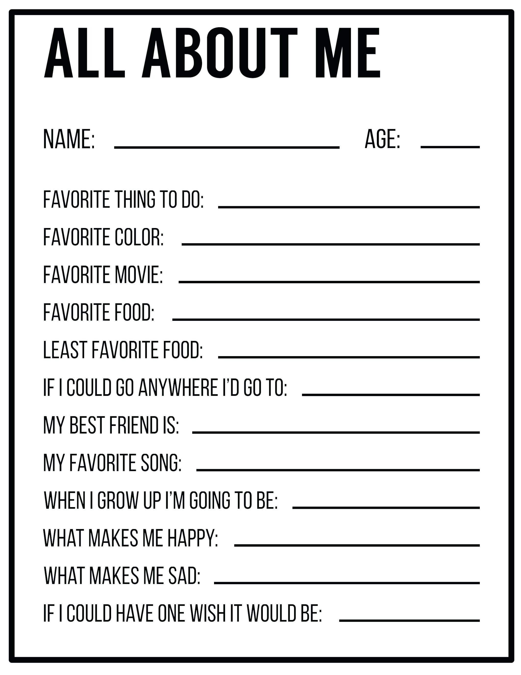 Free Printable All About Me Worksheet Free Printable All About Me - Free Printable Language Arts Worksheets For 1St Grade