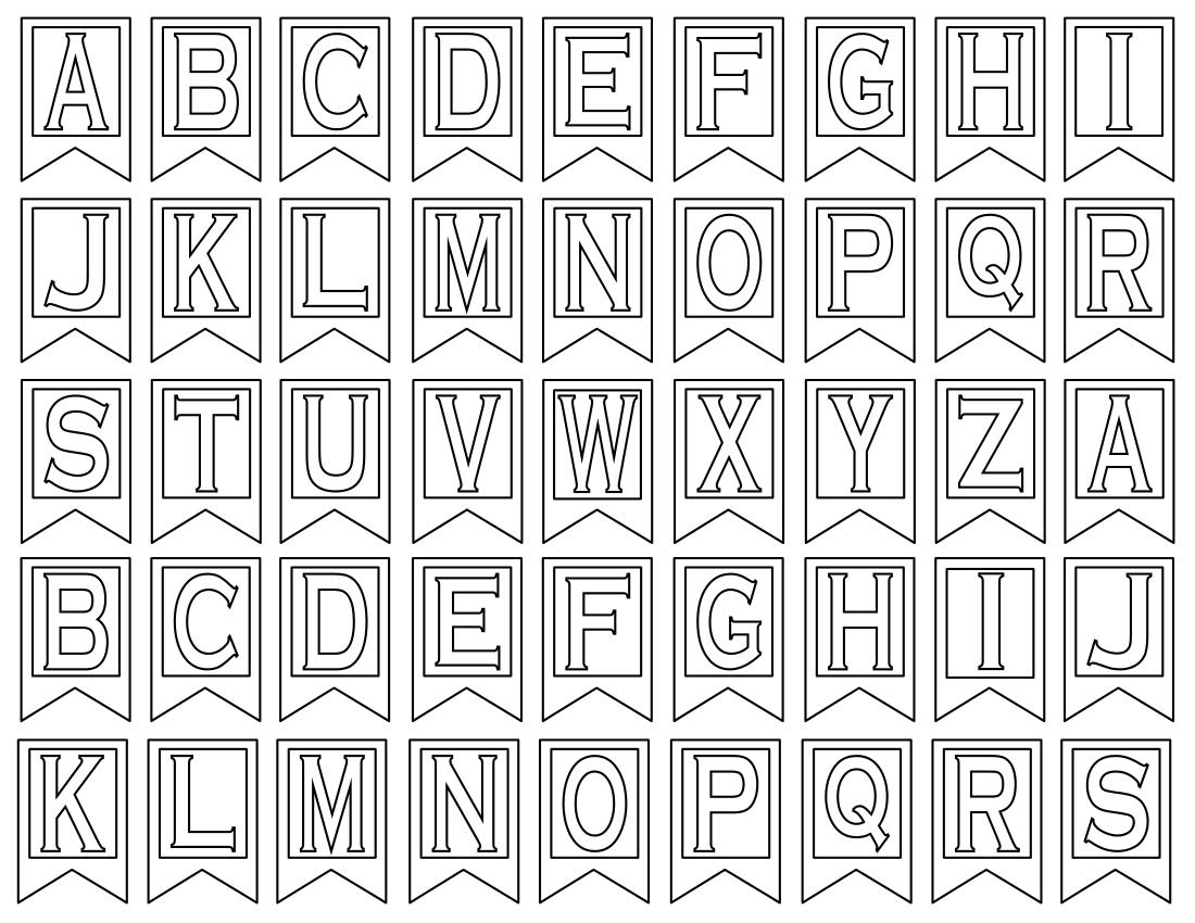 Free Printable Alphabet Letters   Banner Flag Letter Pdf Templates - Free Printable Whole Alphabet Banner