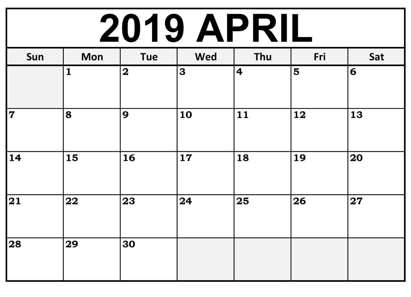 Free Printable April 2019 Calendar Downloadable #tumblr #twitter #fb - Free Printable Facebook Template