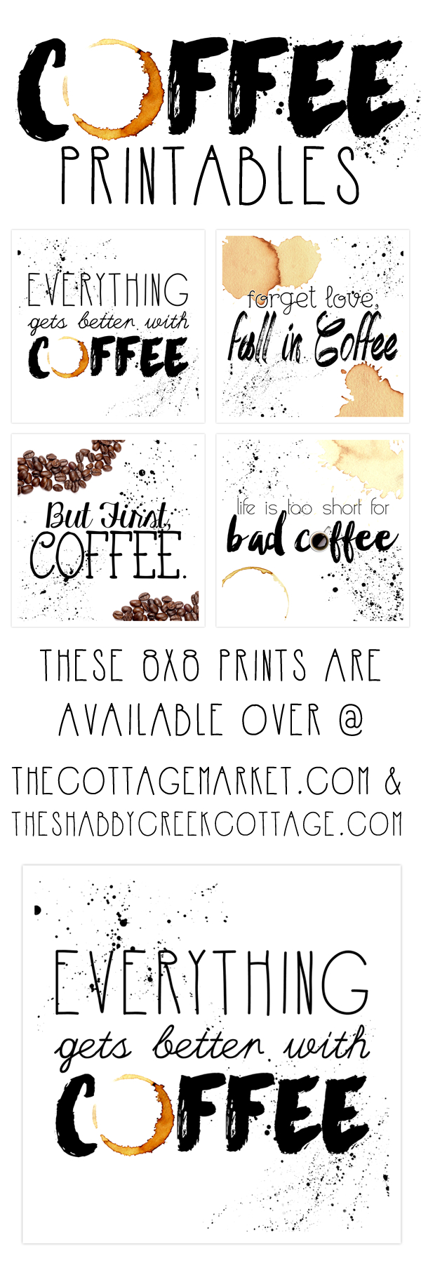 Free Printable Art: The Coffee Collection - The Cottage Market - Free Printable Coffee Bar Signs