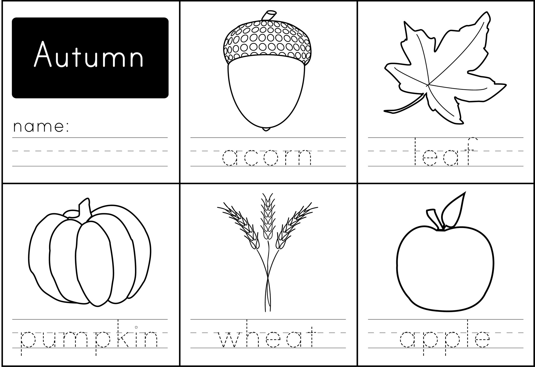 Free Printable: Autumn Words - Paging Supermom - Free Printable Autumn Worksheets