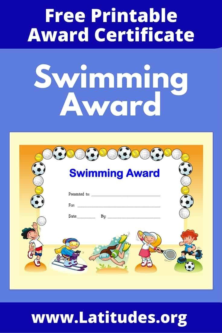 Free Printable Award Certificates For Kids | Acn Latitudes - Free Printable Swimming Certificates For Kids