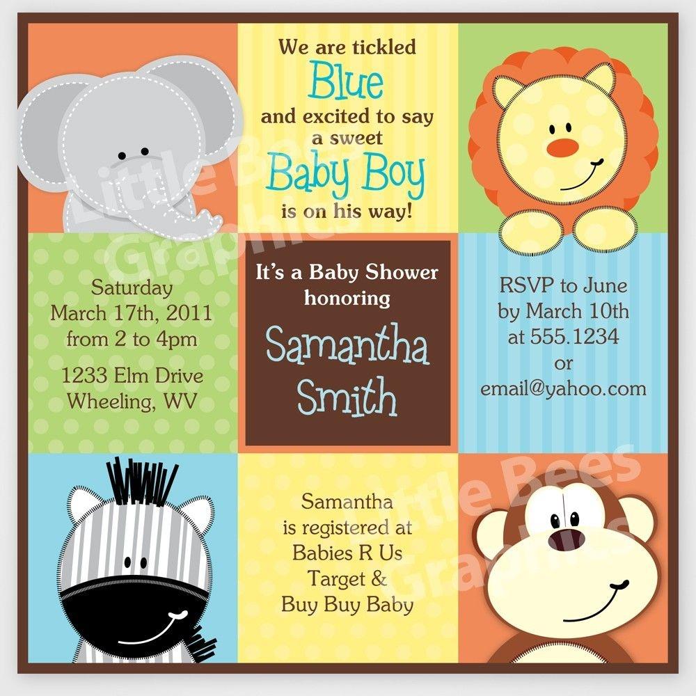 Free Printable Baby Shower Invitations   Stylish Jungle Animals - Jungle Theme Birthday Invitations Free Printable