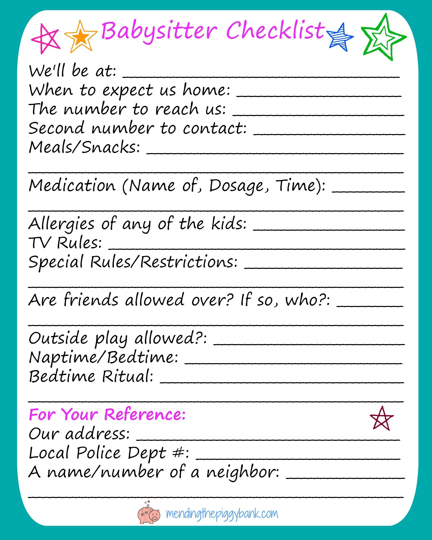 Free Printable Babysitter Checklist …   Babysitting   Babys… - Babysitter Notes Free Printable