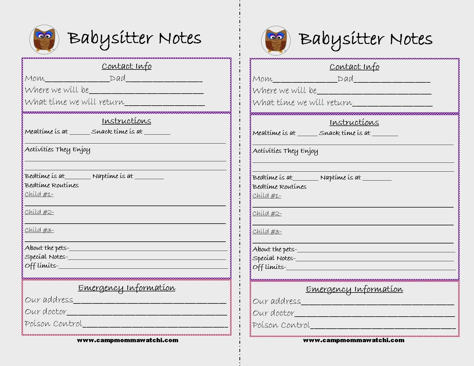 Free Printable Babysitter Notes   Camp Mommawatchi   Crafts And - Babysitter Notes Free Printable