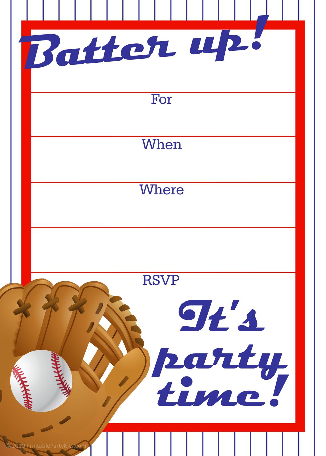 Free Printable Baseball Party Invitation | J's Birthday - Free Printable Sports Birthday Invitation Templates