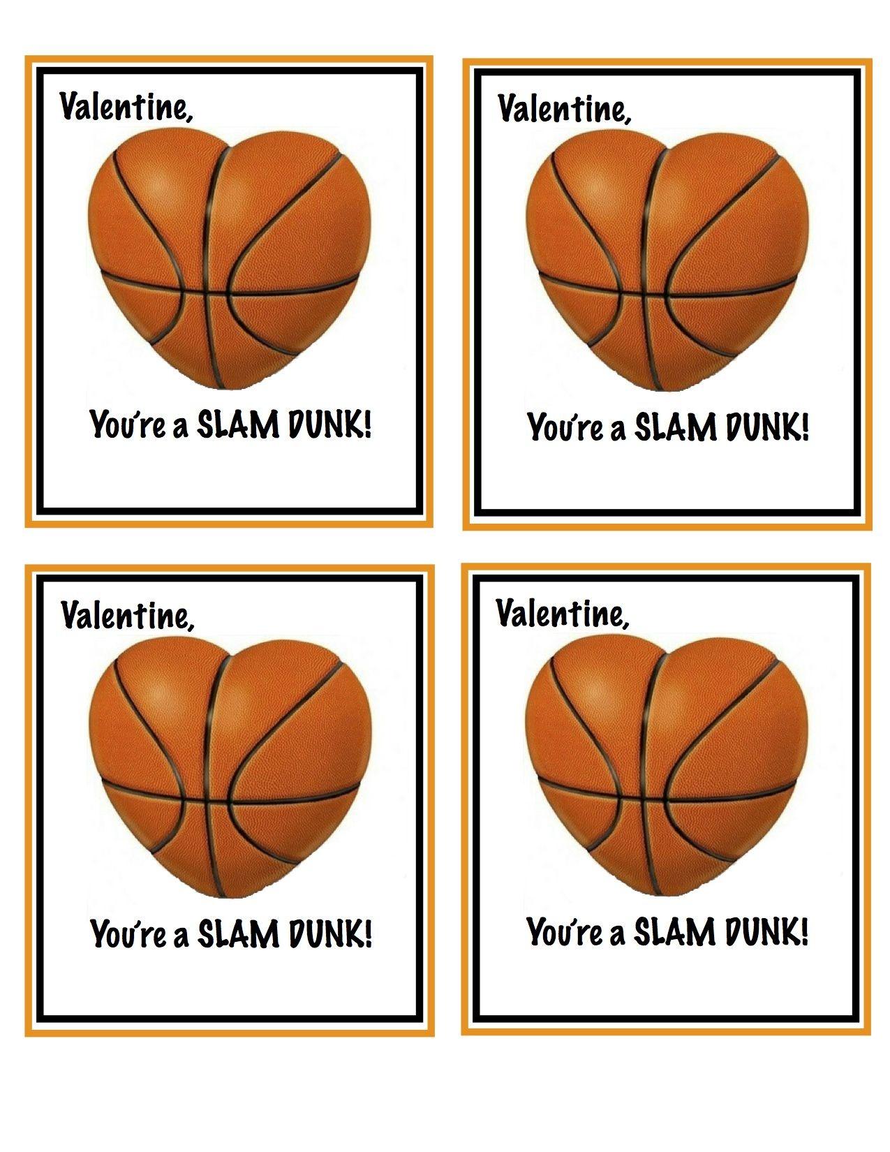Free Printable Basketball Valentines | Valentines | Homemade - Free Printable Basketball Cards