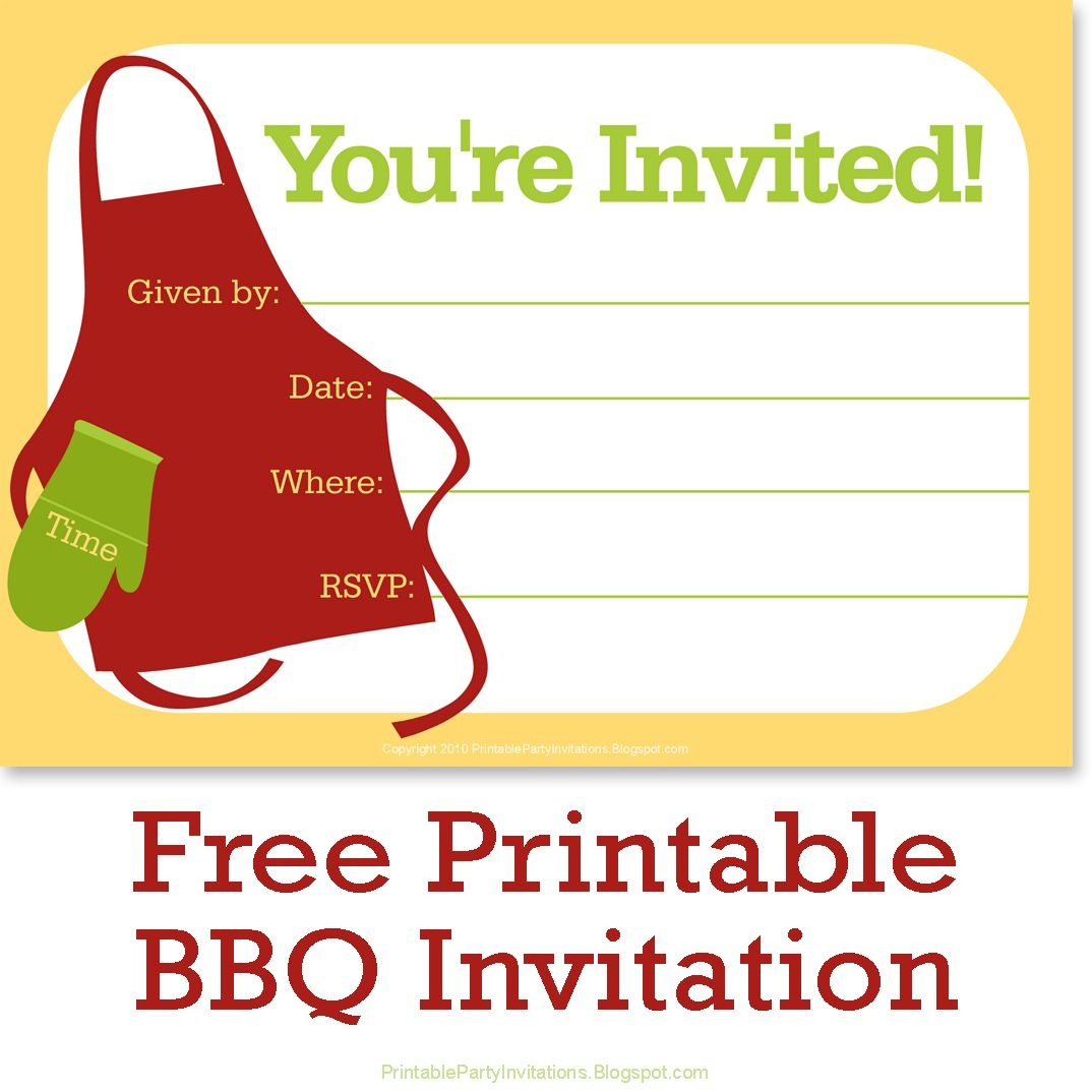 Free Printable Bbq Or Cookout Party Invitations | Free Printable - Free Printable Cookout Invitations