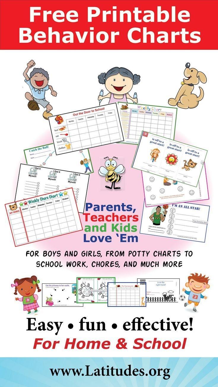 Free Printable Behavior Charts For Home And School | Adhd & Add - Free Printable Charts For Teachers