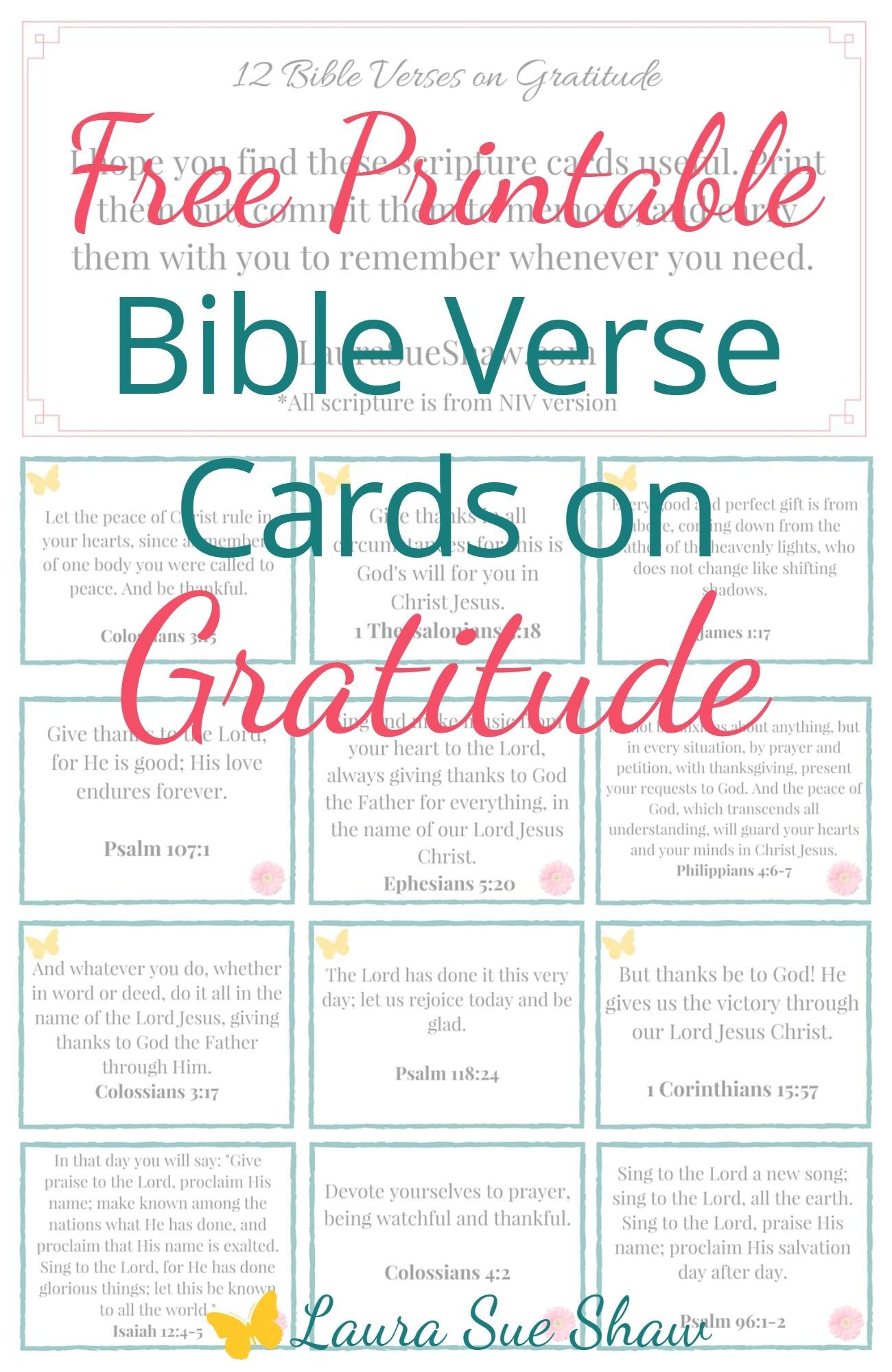 Free Printable Bible Verse Cards On Gratitude - Laura Sue Shaw - Free Printable Bible Verse Cards