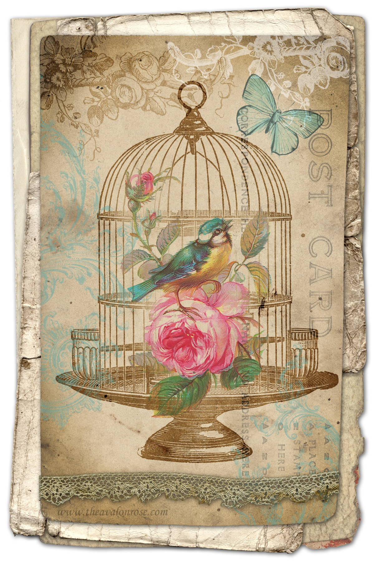 Free Printable Birdcage Art Card – Avalon Rose Design - Free Printable Vintage Pictures