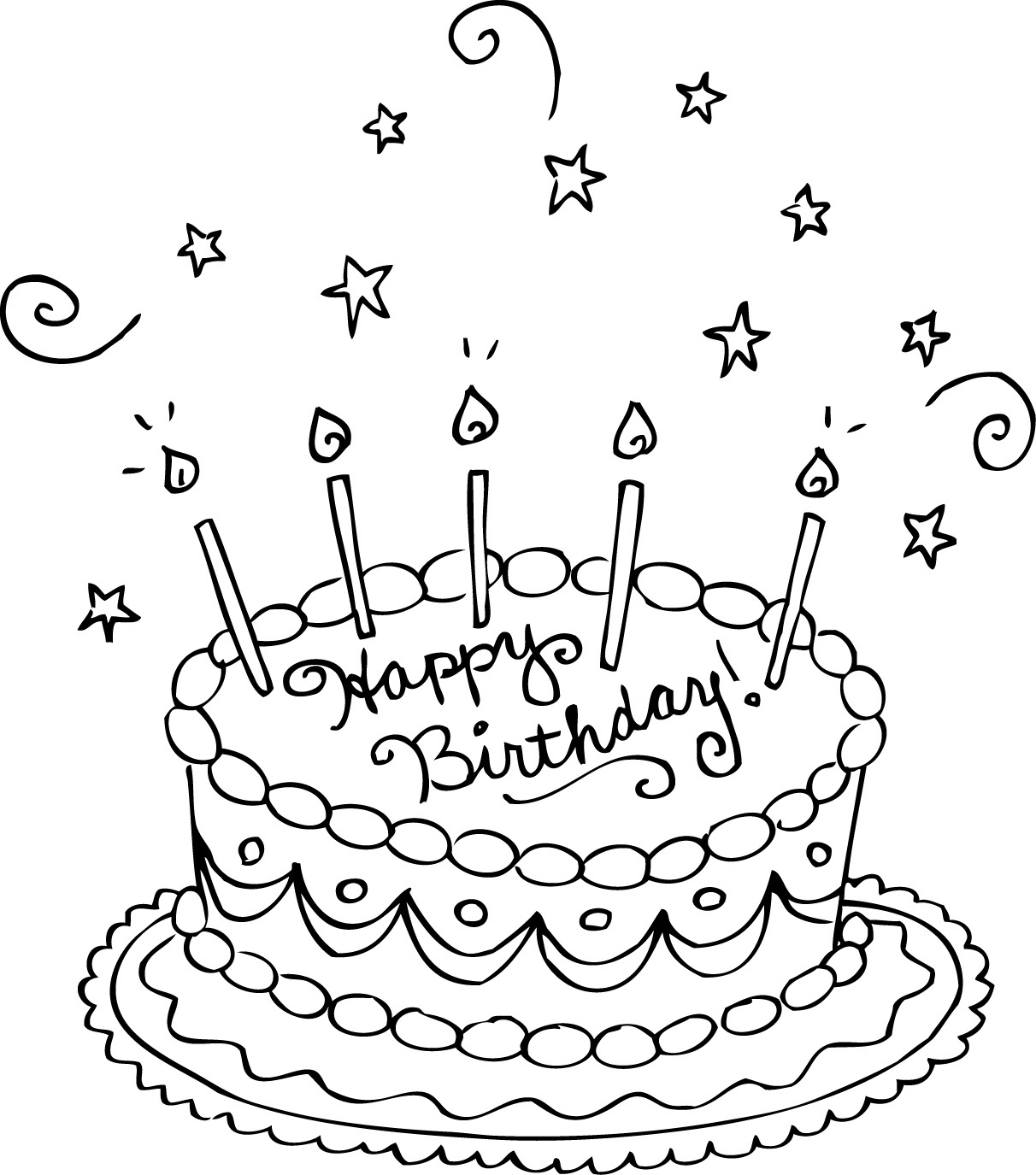 Free Printable Birthday Cake Coloring Pages For Kids - Free Printable Birthday Cake