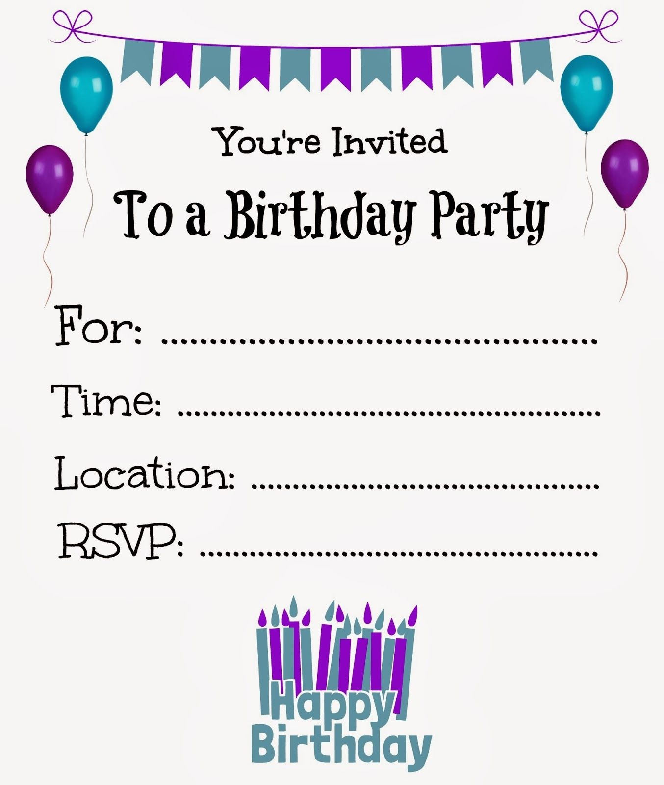 Free Printable Birthday Invitations For Kids #freeprintables - Free Printable Invitations