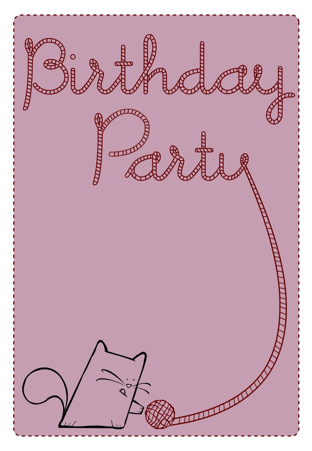Free Printable Birthday Party Cat Invitation   Birthday Party Ideas - Free Printable Birthday Invitations Pinterest