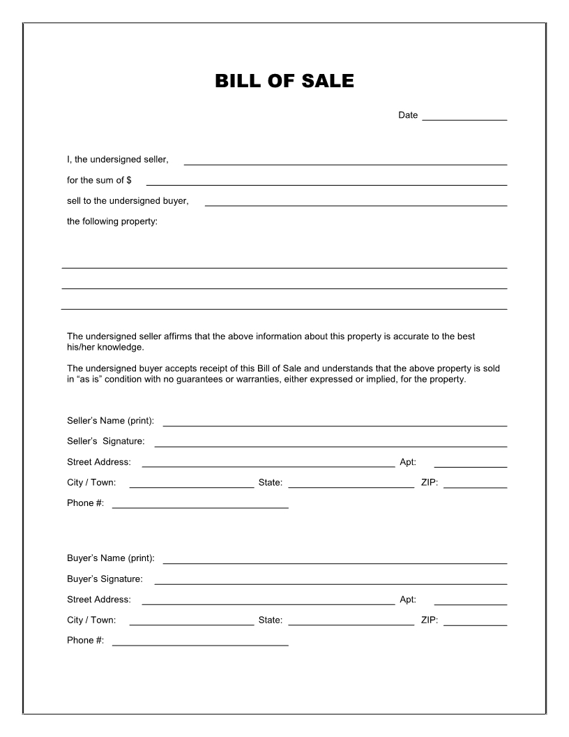 Free Printable Blank Bill Of Sale Form Template - As Is Bill Of Sale - Free Printable Automobile Bill Of Sale Template