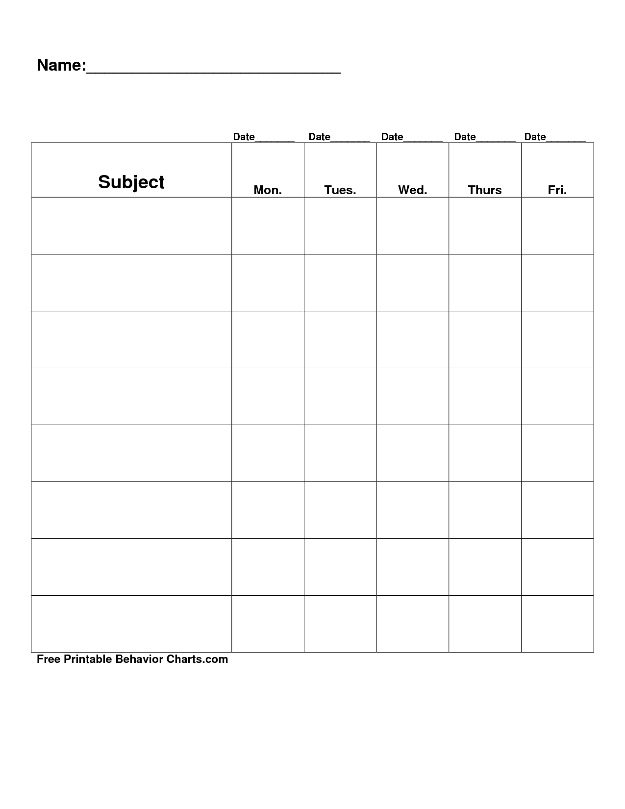 Free Printable Blank Charts   Free Printable Behavior Charts Com - Free Printable Behavior Charts