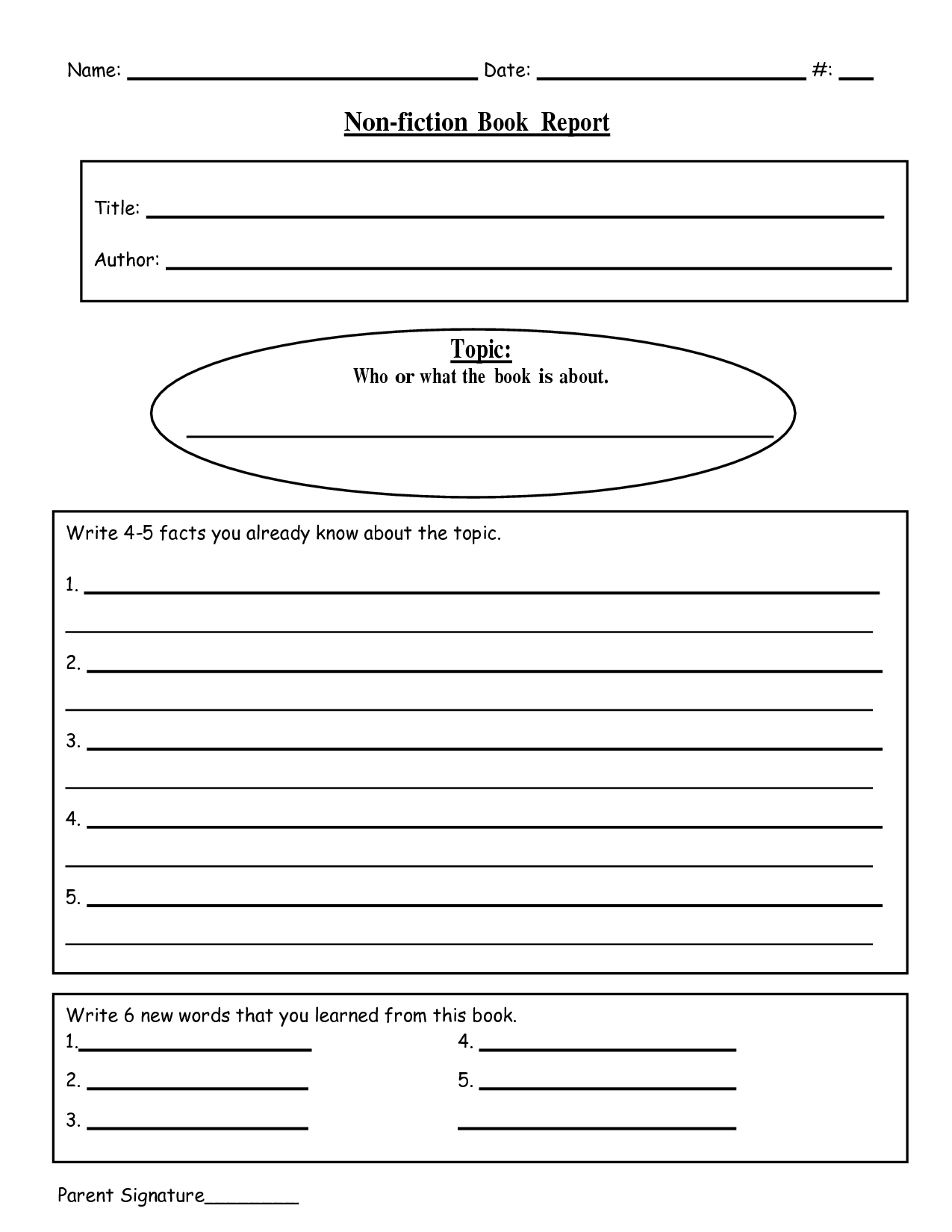 Free Printable Book Report Templates   Non-Fiction Book Report.doc - Free Printable Book Report Forms For Elementary Students
