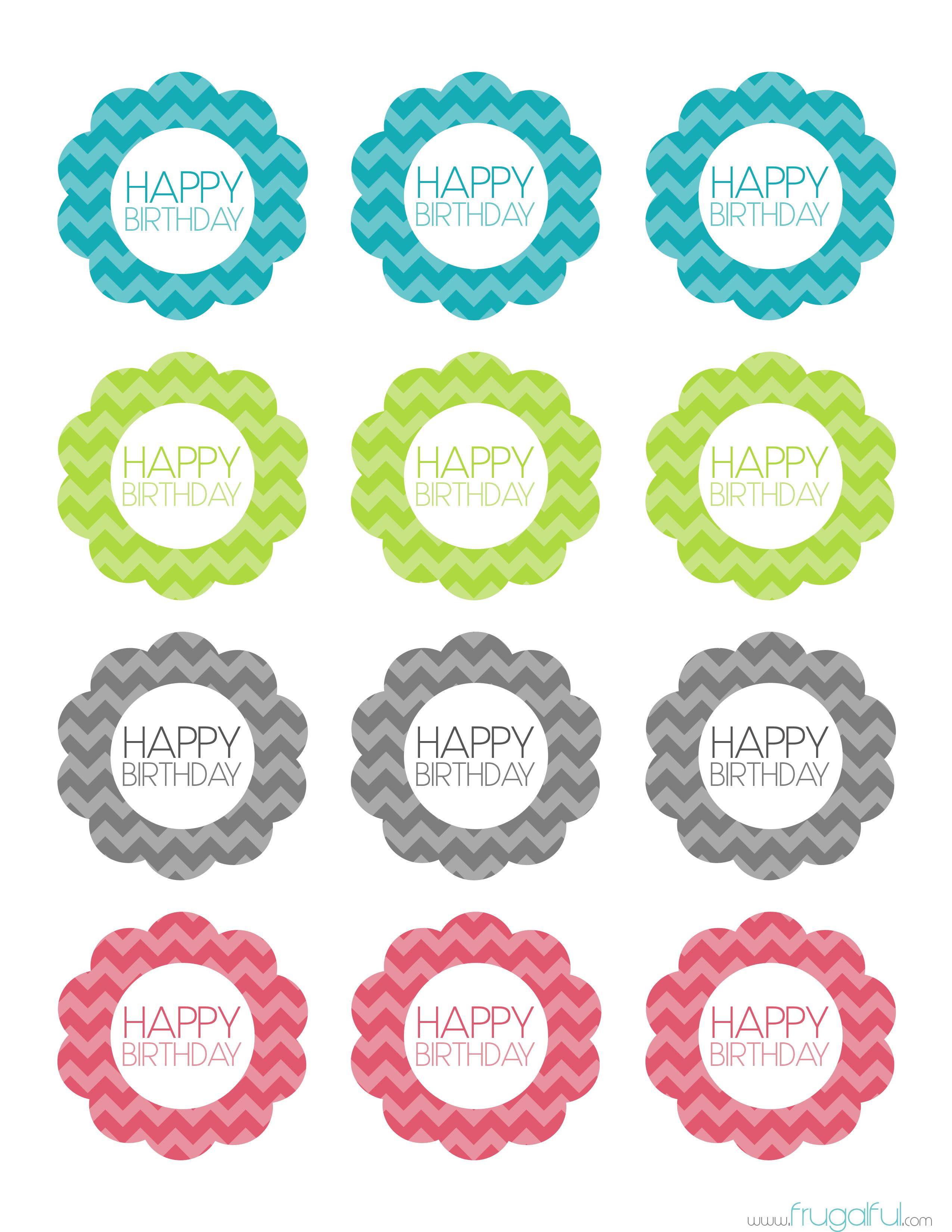 Free Printable Chevron Birthday Cupcake Topper | Frugalful | Par - Baptism Cupcake Toppers Printable Free