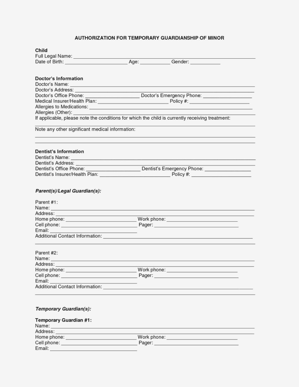 Free Printable Child Medical Consent Form For Grandparents | Resume - Free Printable Child Medical Consent Form