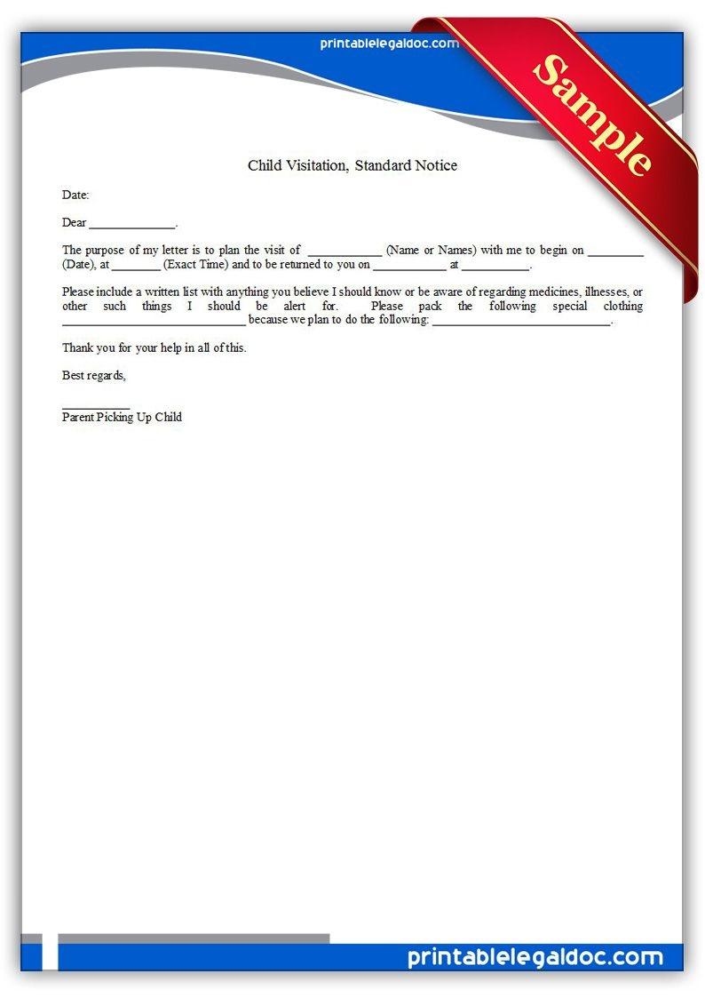 Free Printable Child Visitation, Standard Notice | Sample Printable - Free Printable Divorce Papers For Illinois