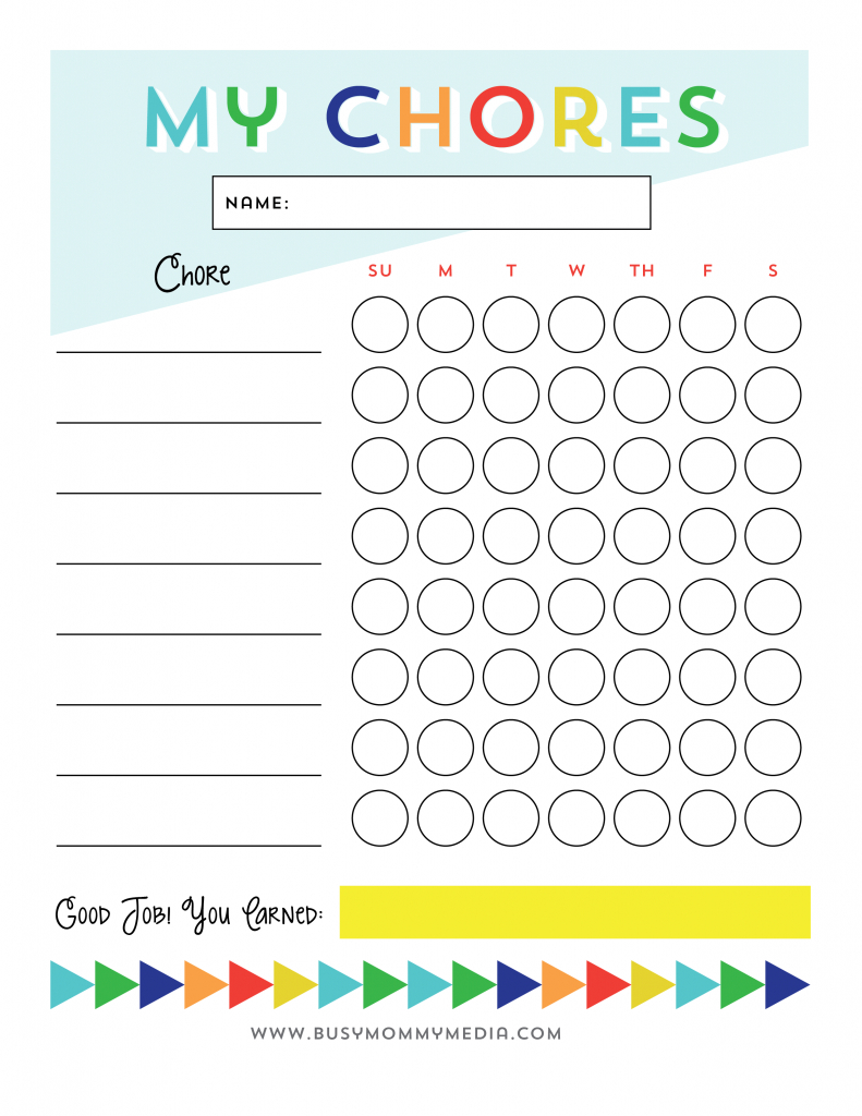 Free Printable - Chore Chart For Kids   Ogt Blogger Friends   Chore - Free Printable Chore Charts For Kids With Pictures