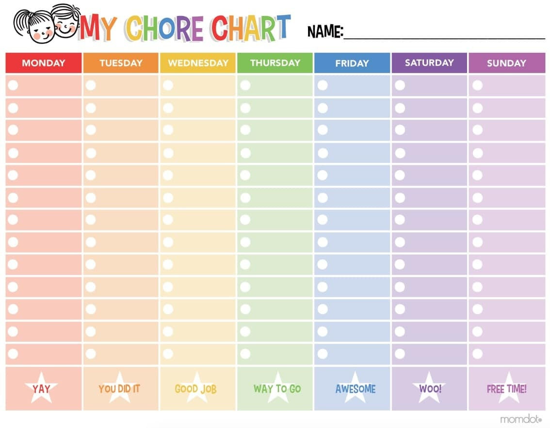 Free Printable Chore Chart - - Free Printable Charts And Lists