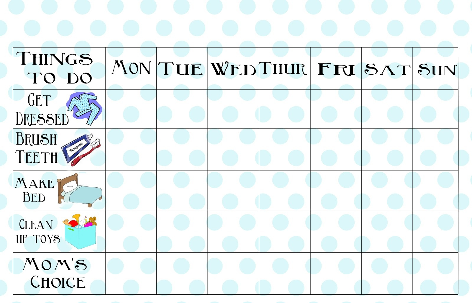 Free Printable Chore Chart - Free Printable Chore Charts For Kids