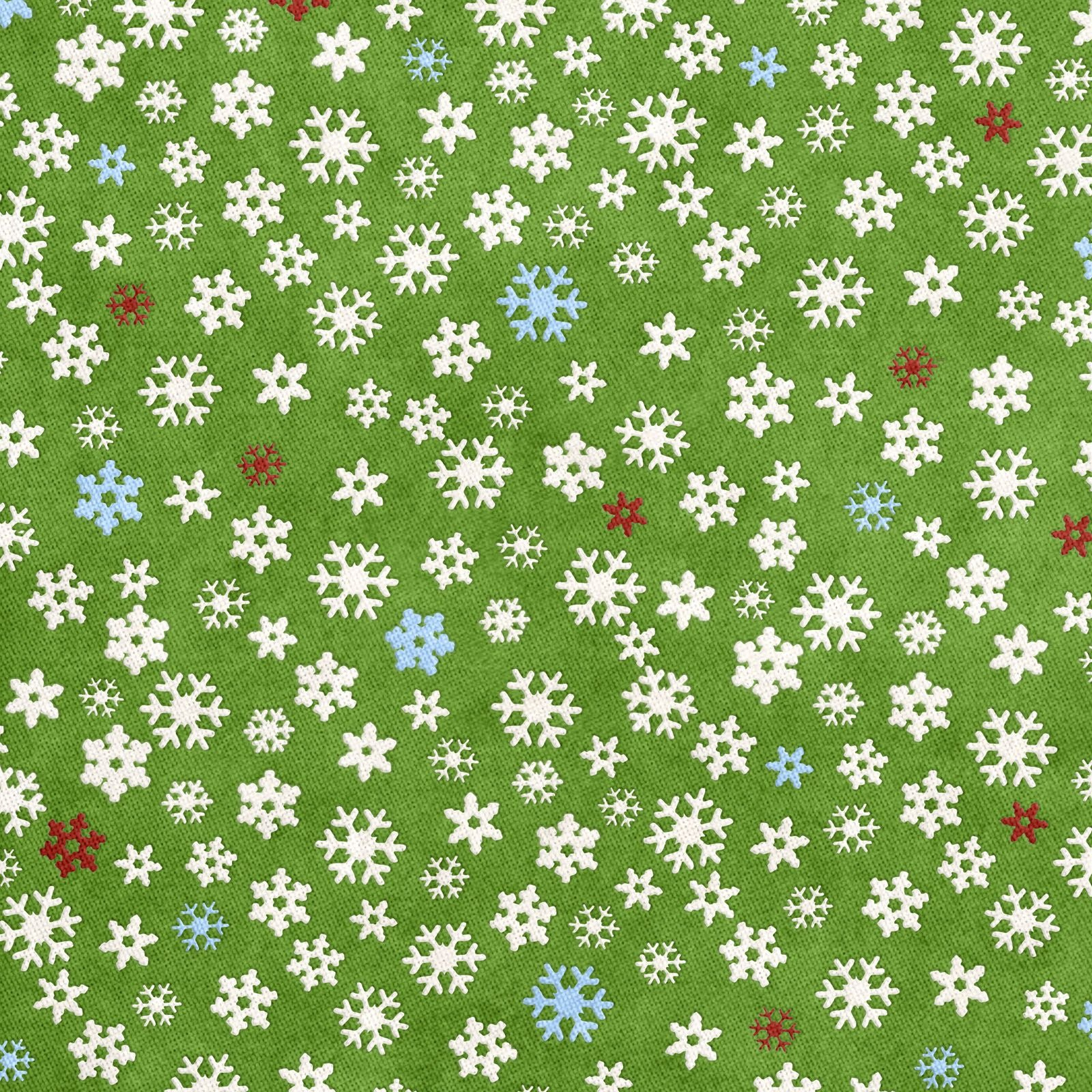 Free Printable Christmas Gift Wrapping Paper - Snowflakes On Green - Free Printable Christmas Paper