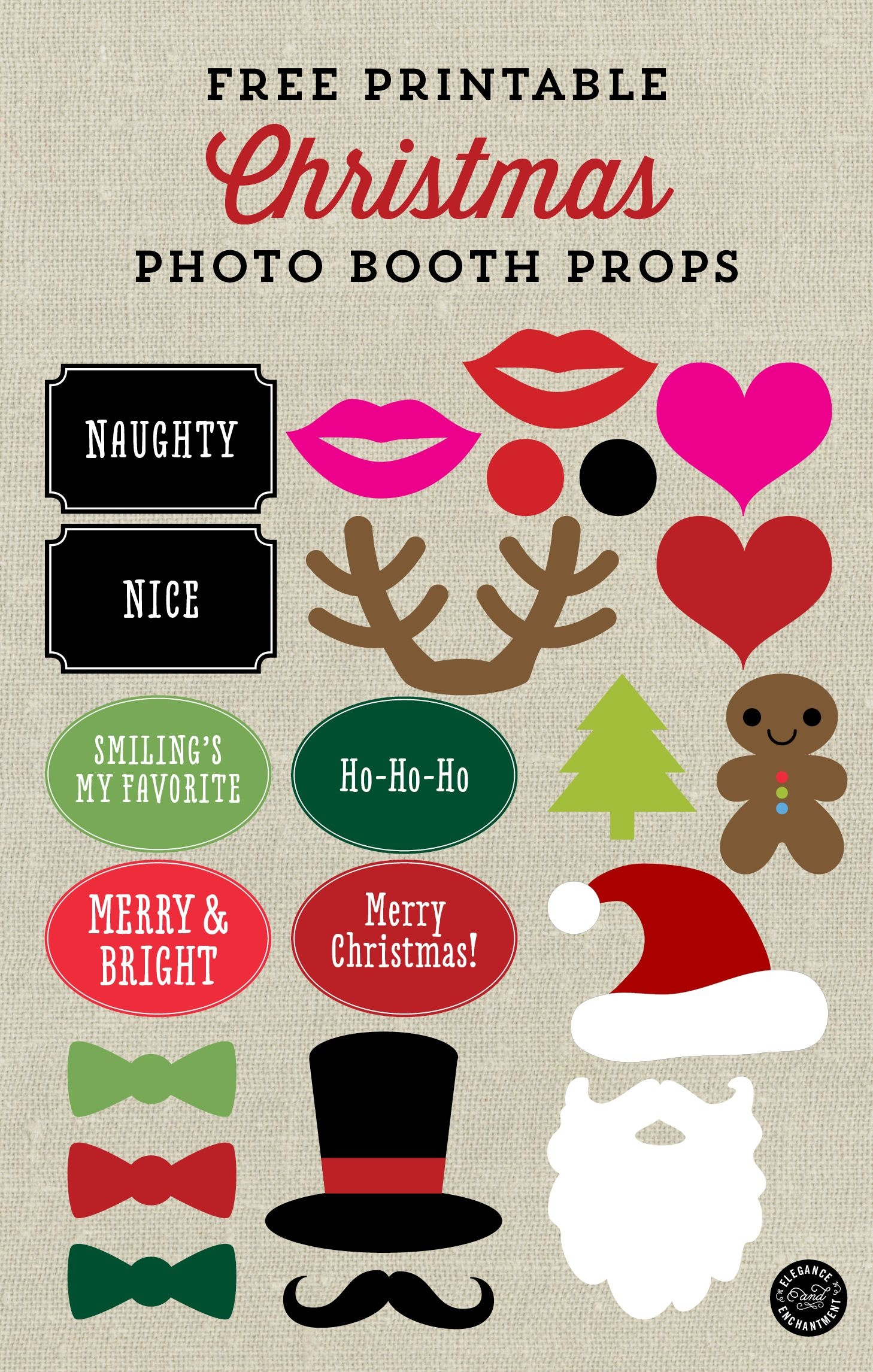 Free Printable Christmas Photo Booth Props And Signs From Elegance - Free Printable Christmas Party Signs