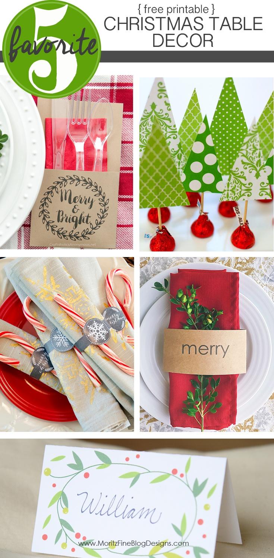 Free Printable Christmas Table Decor | Friday Favorite 5 | Moritz - Free Printable Christmas Decorations