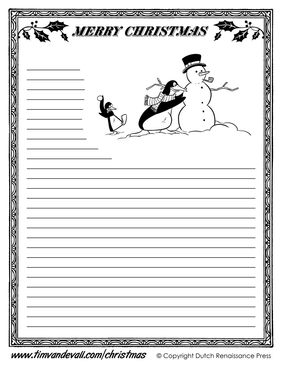 Free Printable Christmas Writing Paper - Tutlin.psstech.co - Free Printable Christmas Writing Paper With Lines