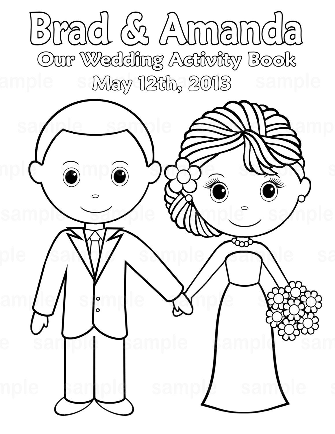 Free Printable Coloring Pictures Wedding | Printable Personalized - Free Printable Personalized Wedding Coloring Book