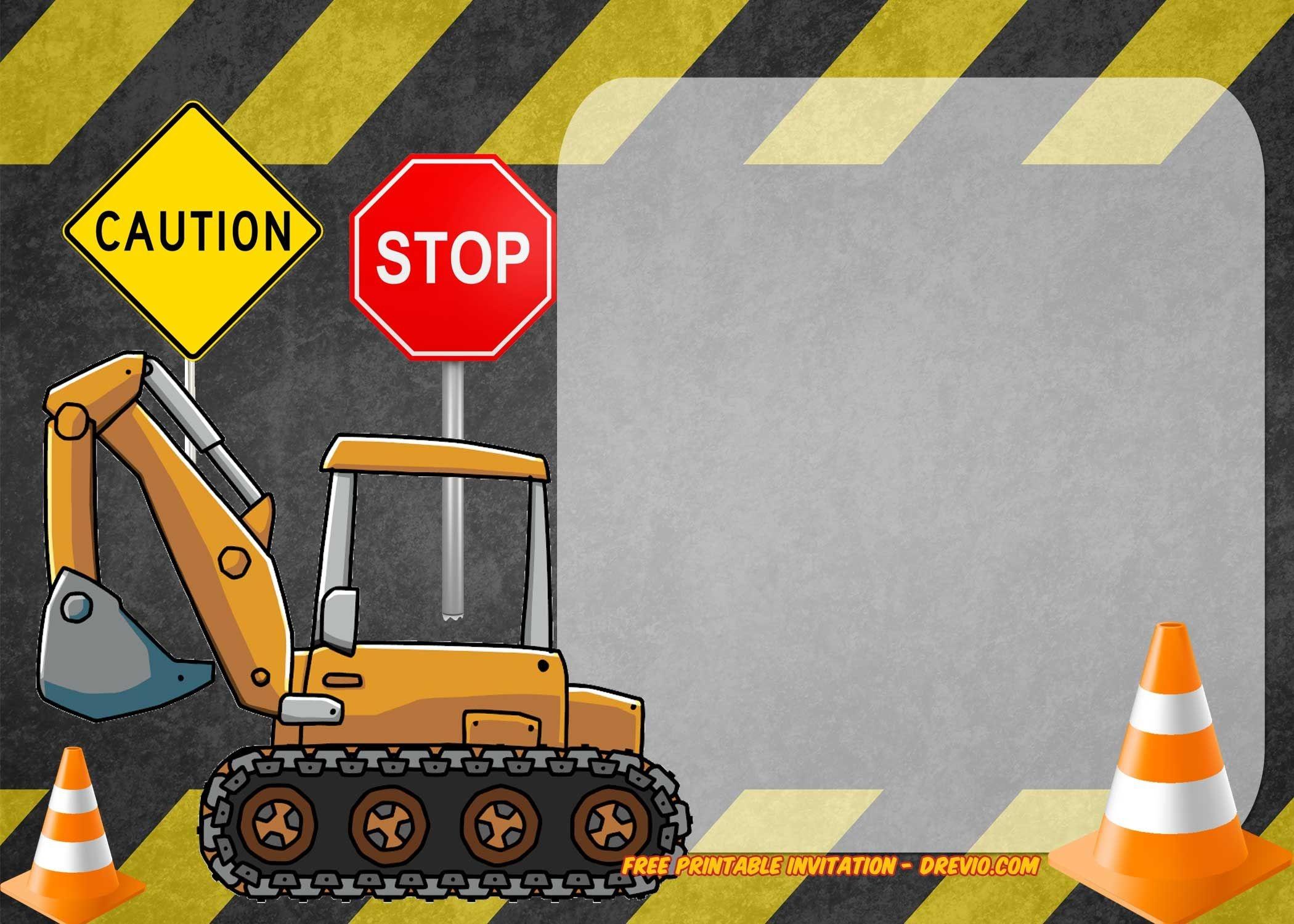 Free Printable Construction Vehicles Birthday Invitation | Free - Free Printable Construction Birthday Invitation Templates