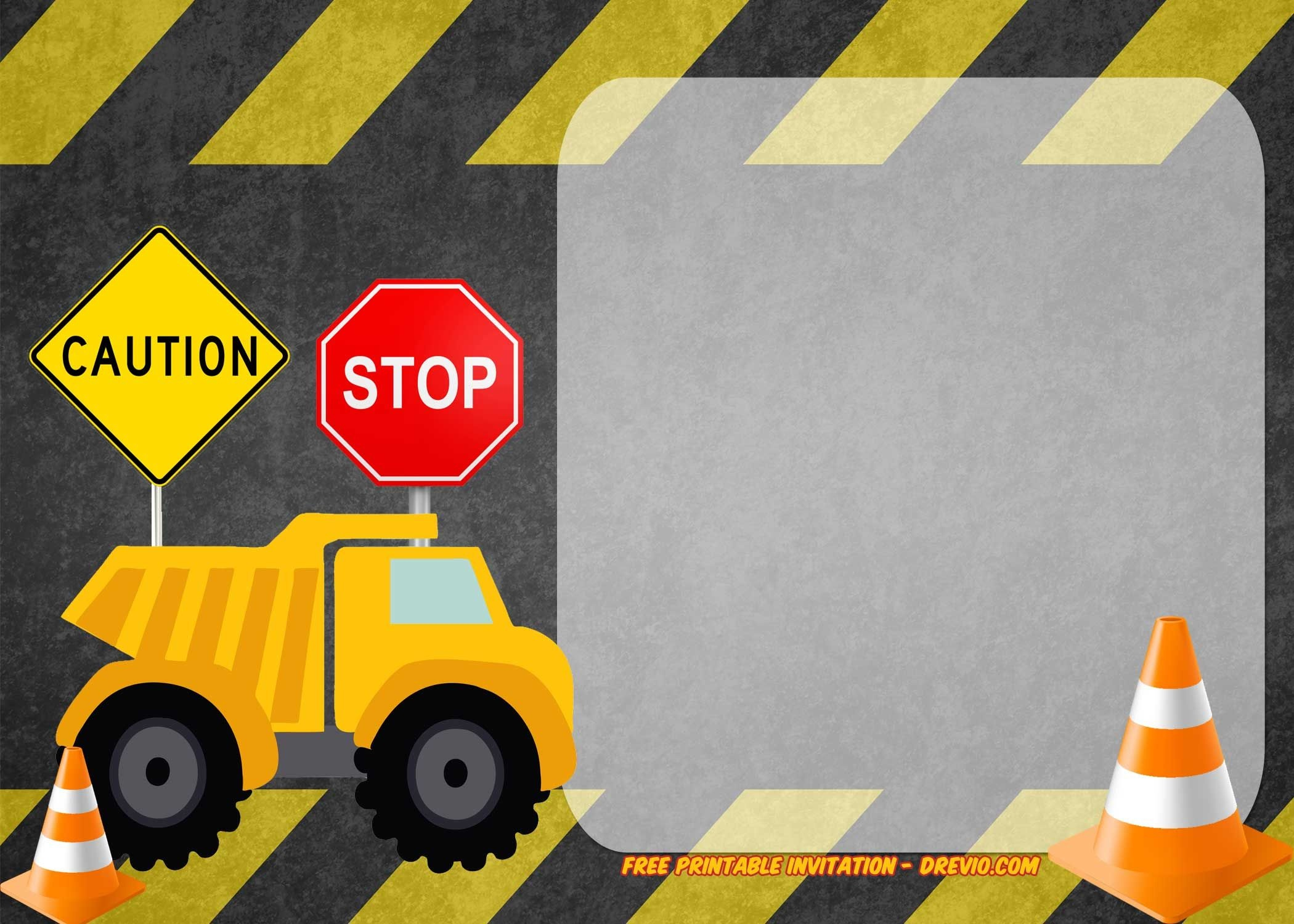 Free Printable Construction Vehicles Birthday Invitation | Party - Free Printable Construction Birthday Invitation Templates