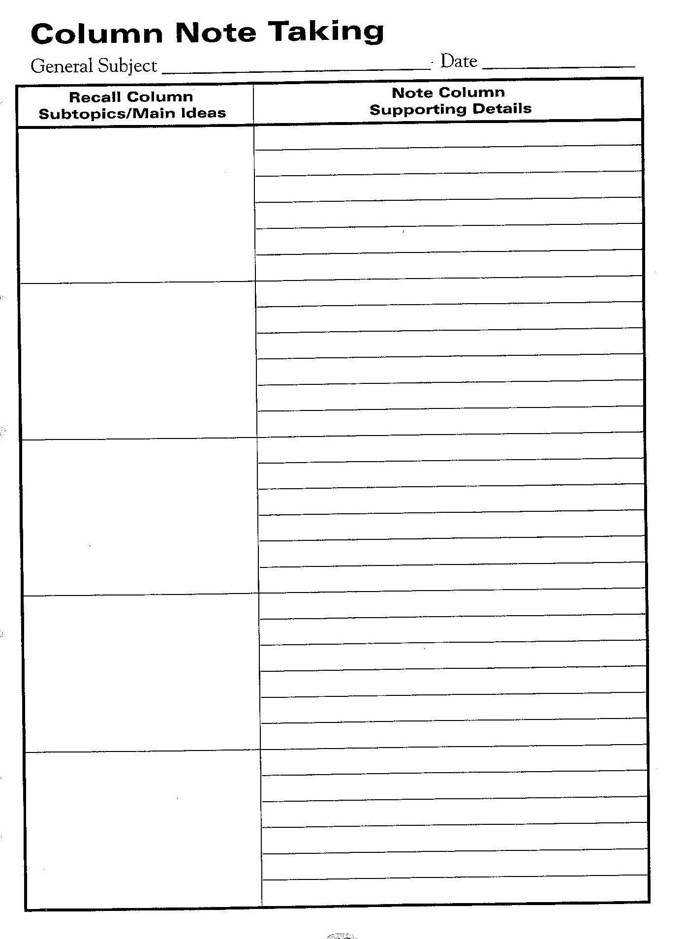 Free Printable Cornell Notes Graphic Organizer    Comic Note - Free Printable Main Idea Graphic Organizer