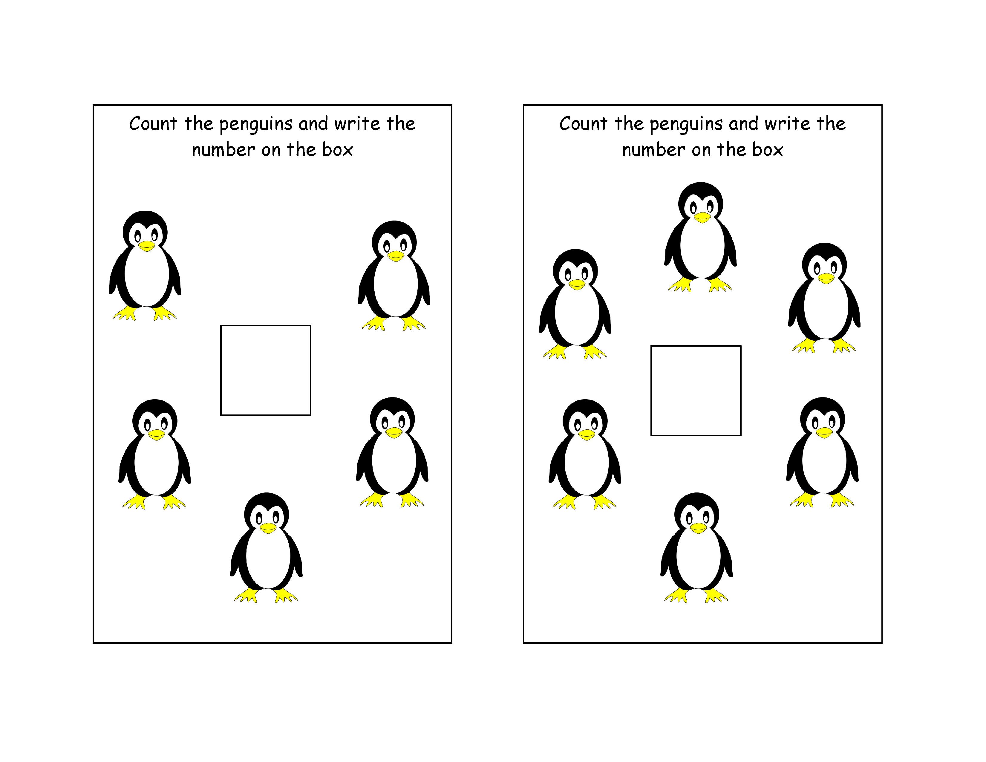 Free Printable - Counting Penguins Mini Worksheet | Free Printable - Free Printable Penguin Books