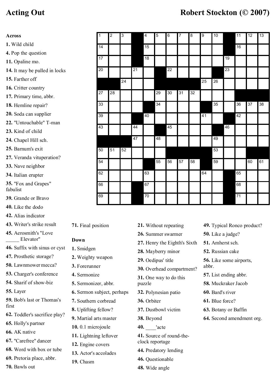 Free Printable Crossword Puzzles   Emergency Preparedness   Free - Free Daily Online Printable Crossword Puzzles