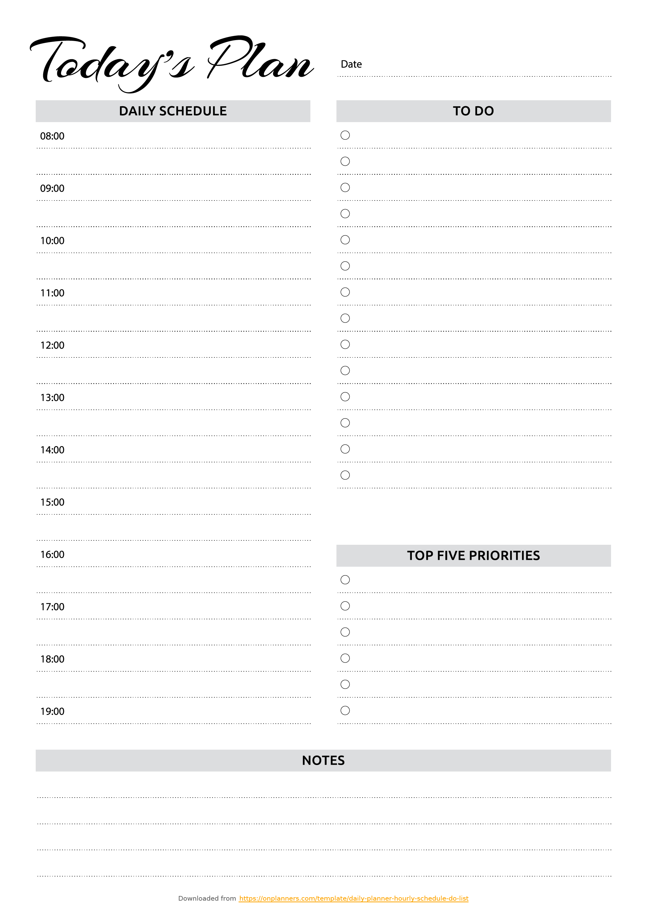 Free Printable Daily Planner With Hourly Schedule & To-Do List Pdf - Free Printable To Do List Pdf