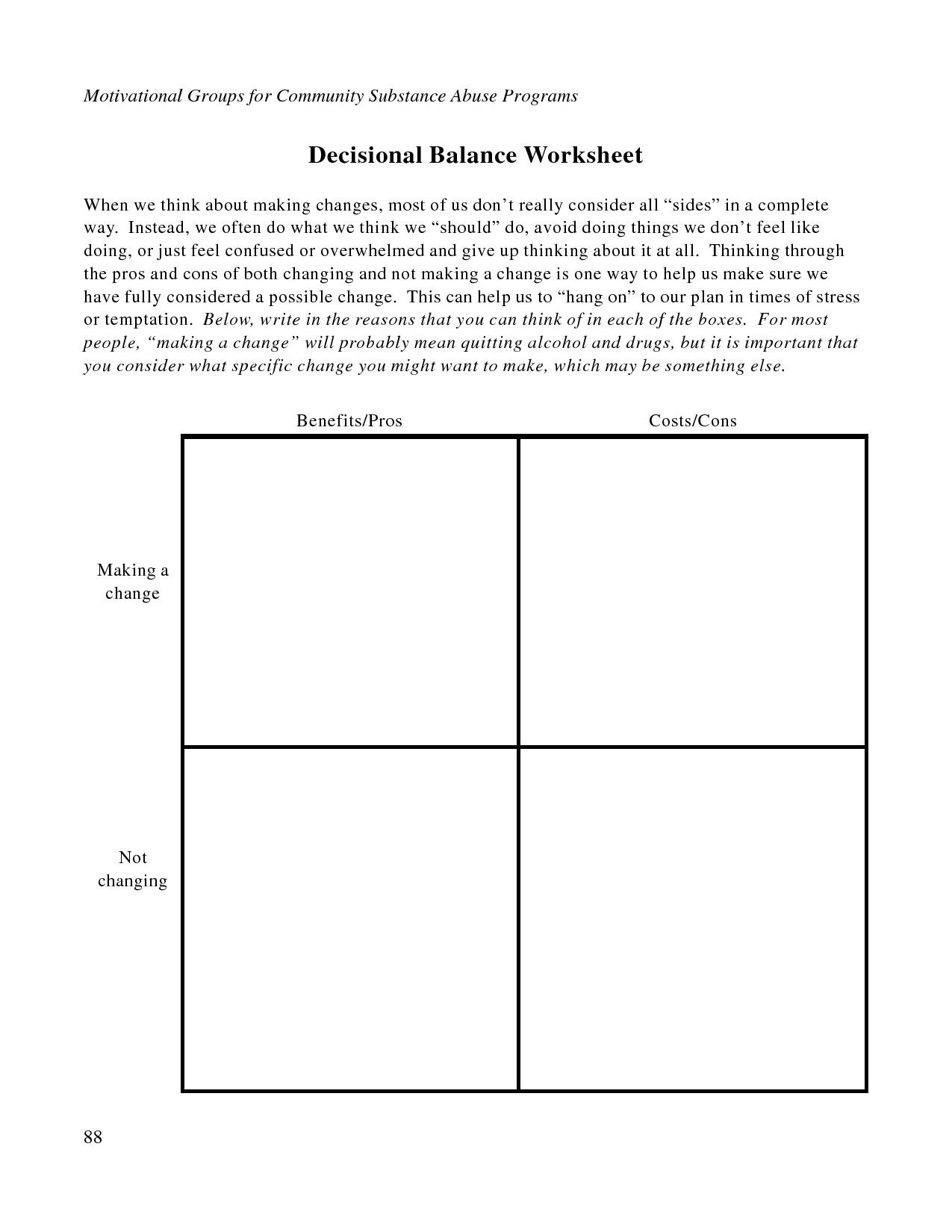 Free Printable Dbt Worksheets   Decisional Balance Worksheet - Pdf - Free Printable Therapy Worksheets