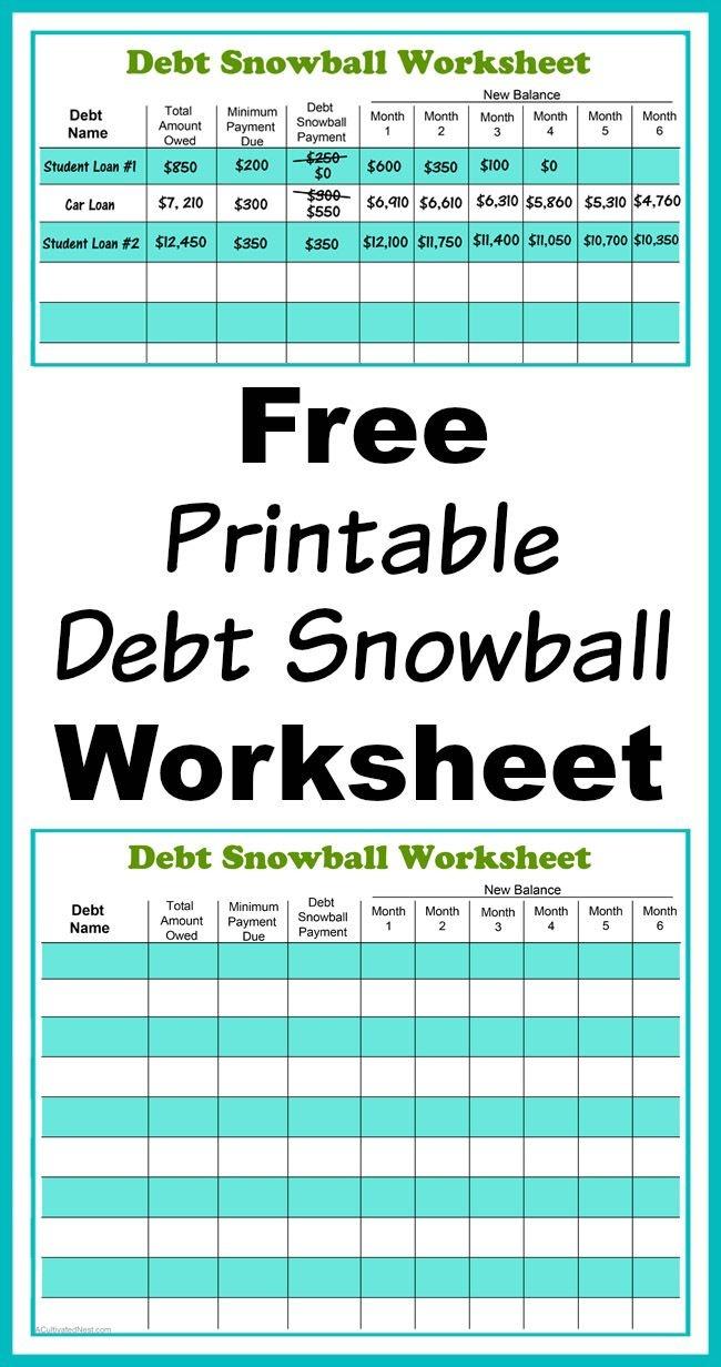 Free Printable Debt Snowball Worksheet | Living Frugally - Money - Free Printable Debt Snowball Worksheet