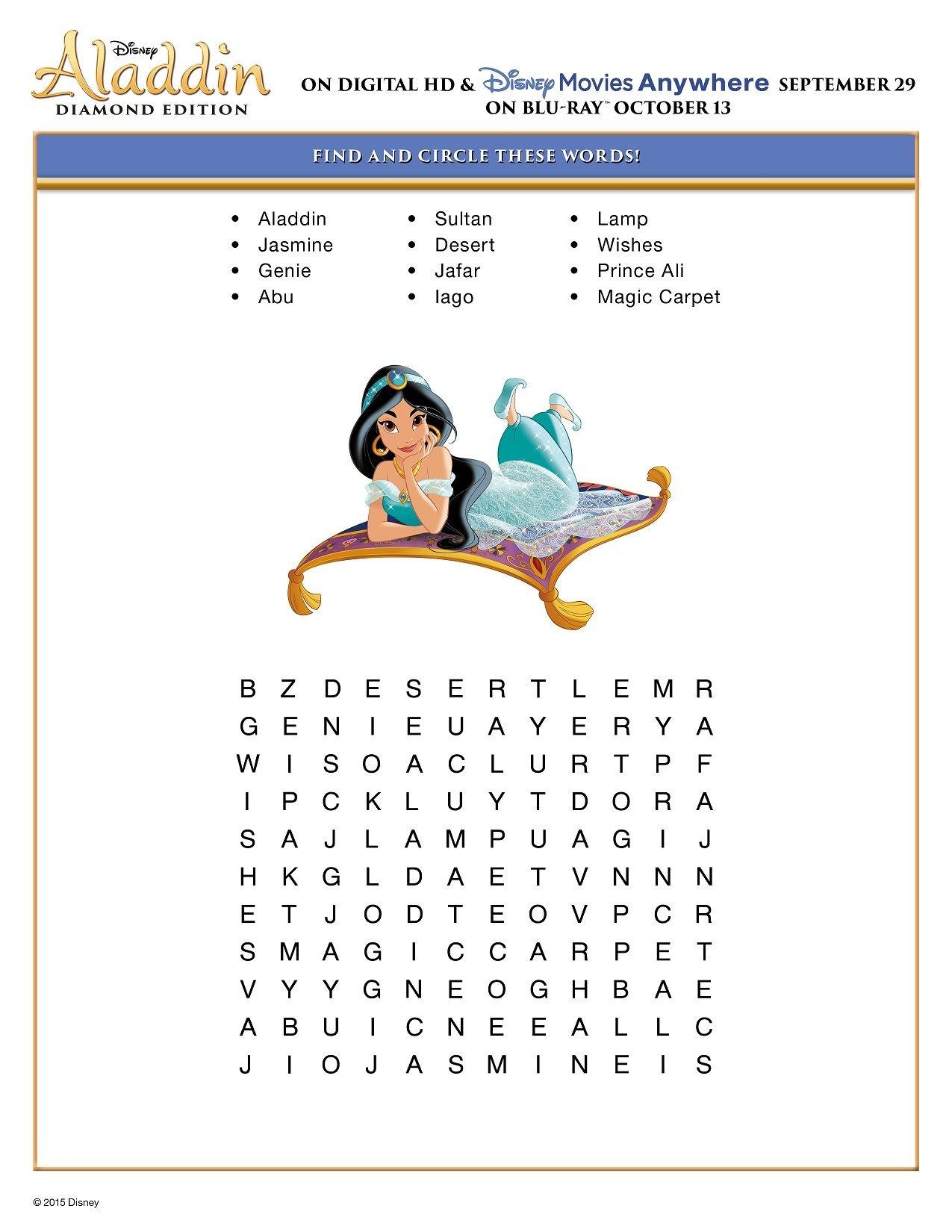 Free Printable Disney Aladdin Activity Sheets   Jasmine/aladdin - Free Printable Disney Stories