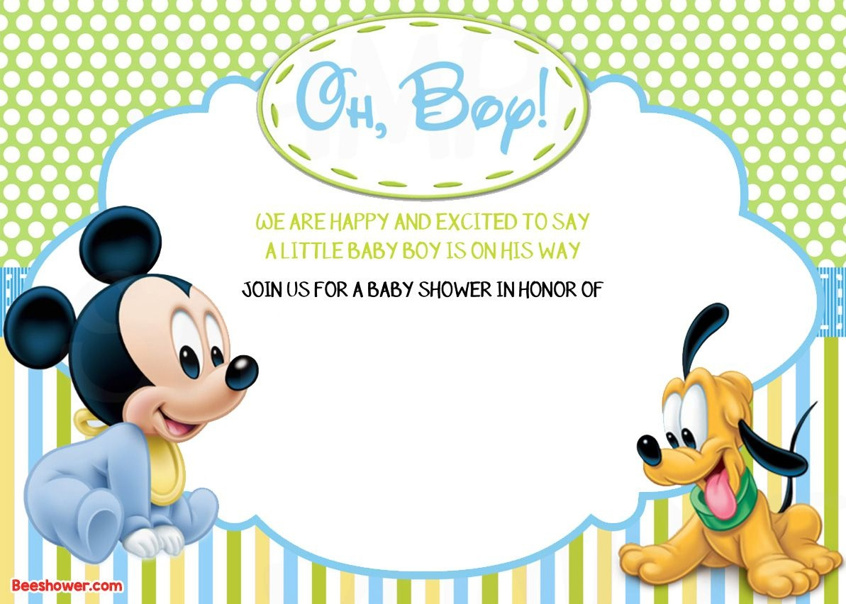 Free Printable Disney Baby Shower Invitations | Baby Shower | Mickey - Free Printable Baby Mickey Mouse Birthday Invitations