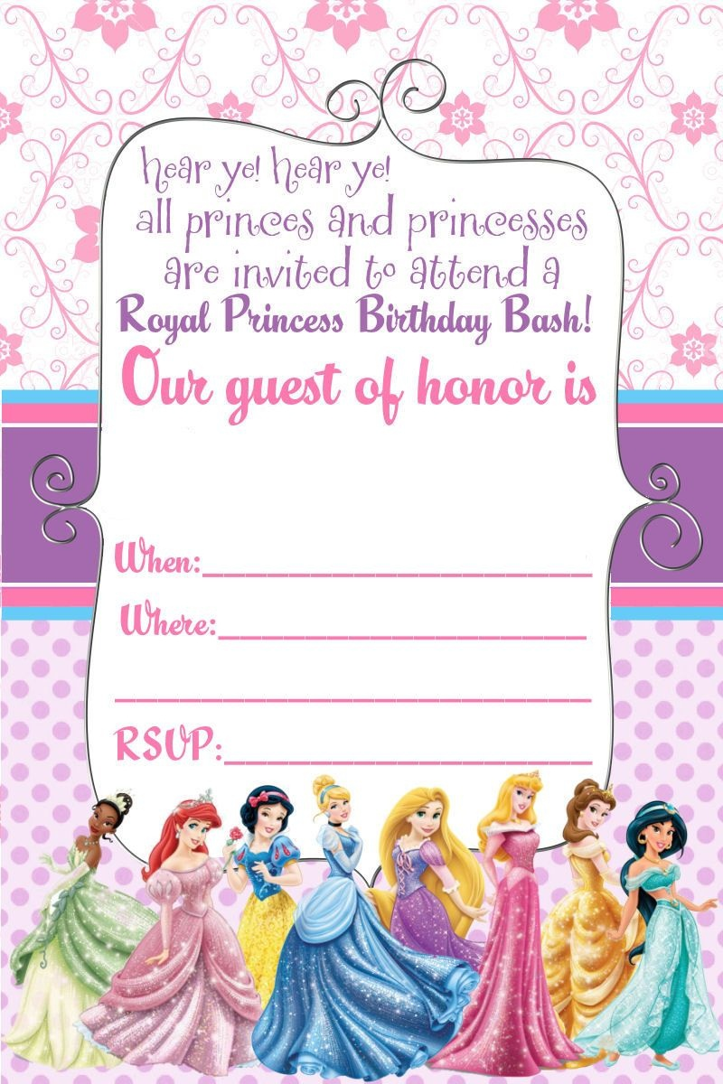 Free Printable Disney Princess Ticket Invitation | Free Printable - Free Printable Princess Invitation Cards