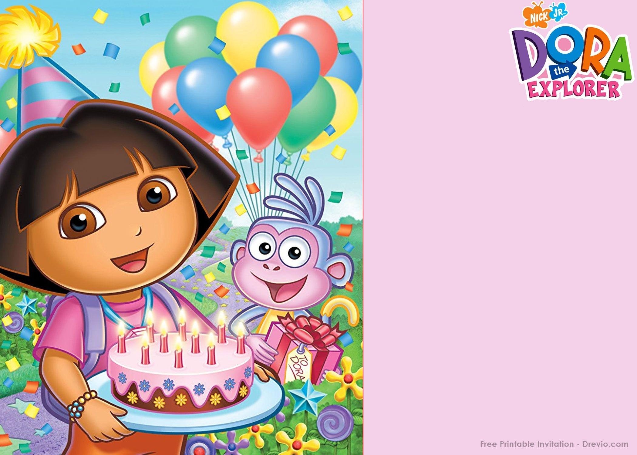 Free Printable Dora The Explorer Party Invitation | Birthday - Dora The Explorer Free Printable Invitations